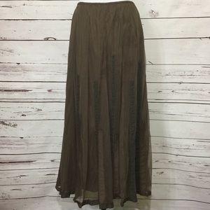J. Jill Espresso Brown Gauze And Ribbon Maxi Skirt